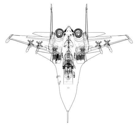 Concepto de ilustración de dibujo de avión de combate