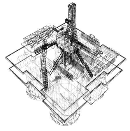 Concepto de plataforma de perforación de plataforma petrolera costa afuera Ilustración de vector