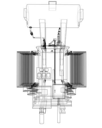 Concept de transformateur haute tension. Rendu vectoriel de 3d. Style fil de fer. Les couches de lignes visibles et invisibles sont séparées Vecteurs