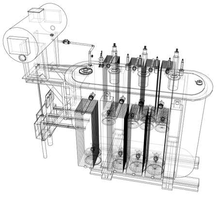 High-voltage transformer concept. Vector rendering of 3d. Wire-frame style. The layers of visible and invisible lines are separated