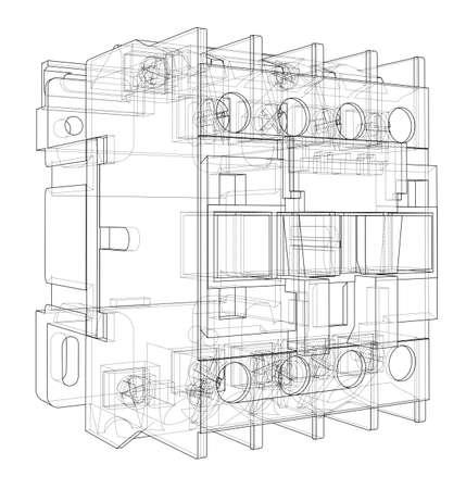 Automatische stroomonderbreker concept. Vector weergave van 3d. Draadframe-stijl. De lagen zichtbare en onzichtbare lijnen worden gescheiden