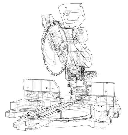 Verstekzaagblad concept. Vector weergave van 3d. Draadframe stijl. De lagen zichtbare en onzichtbare lijnen worden gescheiden