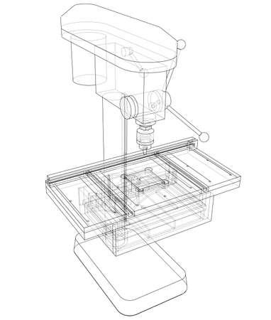 Bohrmaschinenkonzept. Vektorwiedergabe von 3d. Drahtrahmenstil. Die Ebenen der sichtbaren und unsichtbaren Linien werden getrennt Vektorgrafik