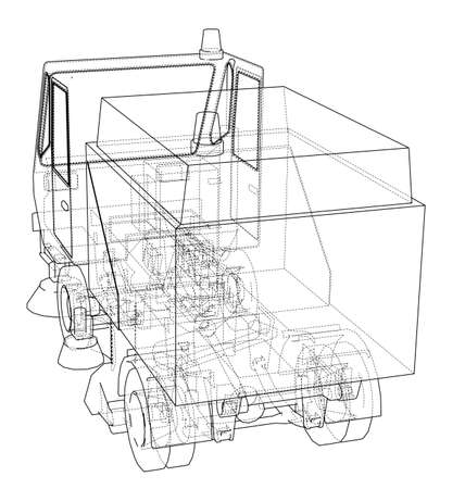 Small Street Clean Truck Concept. Vector rendering of 3d. Wire-frame style. The layers of visible and invisible lines are separated 矢量图像