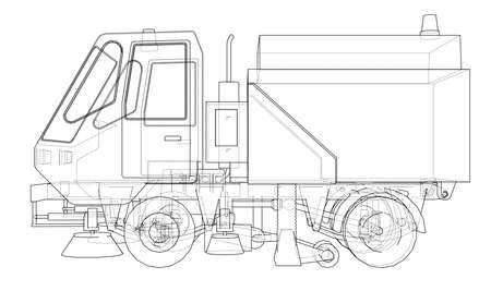 Small Street Clean Truck Concept. Vector rendering of 3d. Wire-frame style. The layers of visible and invisible lines are separated  イラスト・ベクター素材