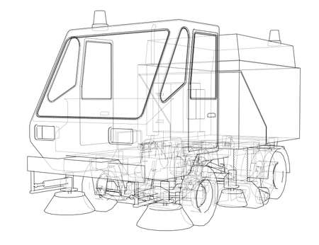 Small Street Clean Truck Concept. Vector rendering of 3d. Wire-frame style. The layers of visible and invisible lines are separated