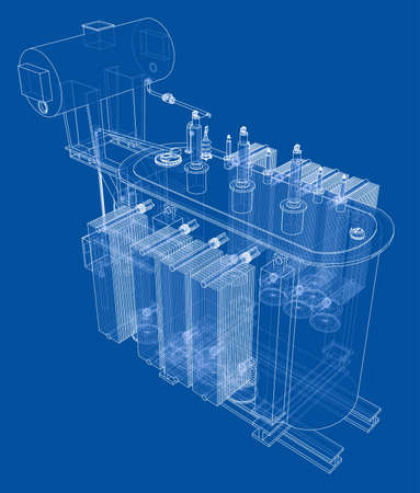 Koncepcja transformatora wysokiego napięcia. Renderowania wektorowego 3d. Styl szkieletowy. Warstwy widocznych i niewidocznych linii są rozdzielone