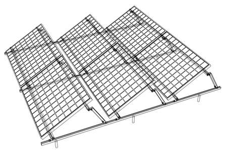 Solar Panel Concept. Vector rendering of 3d. Wire-frame style. The layers of visible and invisible lines are separated