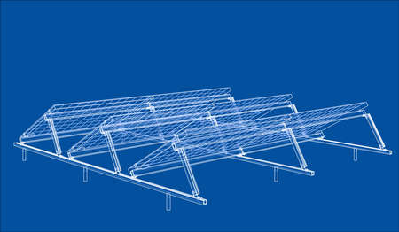 Solar Panel Concept. Vector rendering of 3d. Wire-frame style. The layers of visible and invisible lines are separated Standard-Bild - 109773841