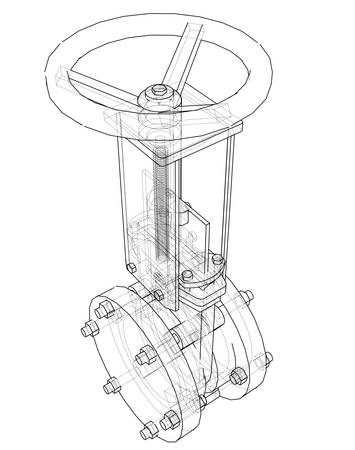 Industrial pipeline gate valve Concept. Vector rendering of 3d. Wire-frame style. The layers of visible and invisible lines are separated Vektorgrafik