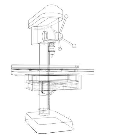 Drilling machine concept. Vector rendering of 3d. Wire-frame style. The layers of visible and invisible lines are separated