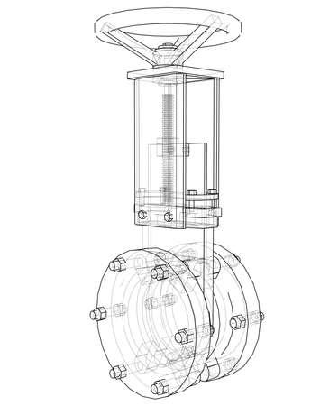 Industrielles Rohrleitungsschieber-Konzept Vektorgrafik