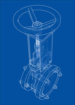 Industrial pipeline gate valve Concept. Vector rendering of 3d. Wire-frame style. The layers of visible and invisible lines are separated