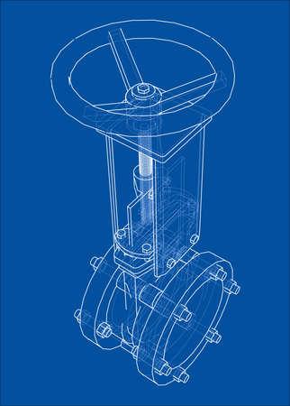 Industrielles Rohrleitungsschieber-Konzept. Vektor-Rendering von 3d. Drahtrahmenstil. Die Ebenen der sichtbaren und unsichtbaren Linien werden getrennt Vektorgrafik