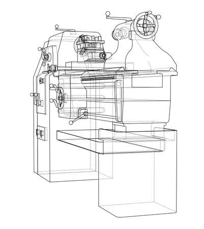 Lathe concept. Vector rendering of 3d. Wire-frame style. The layers of visible and invisible lines are separated Vecteurs