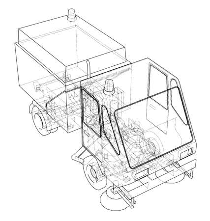 Small Street Clean Truck Concept. Vector rendering of 3d. Wire-frame style. The layers of visible and invisible lines are separated Ilustrace