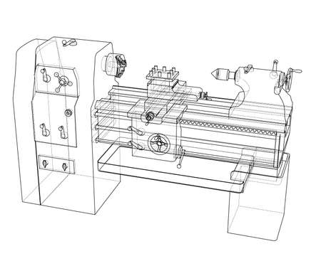 Concept de tour. Rendu vectoriel de 3d. Style fil de fer. Les couches de lignes visibles et invisibles sont séparées