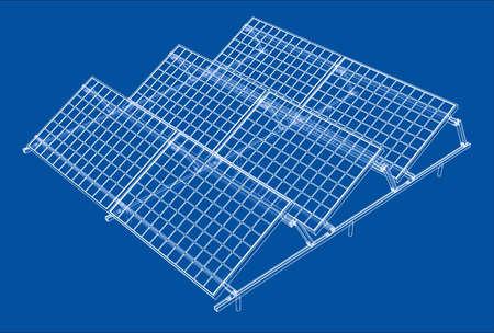 Concetto di pannello solare. Rendering vettoriale di 3d. Stile wireframe. Gli strati di linee visibili e invisibili sono separati
