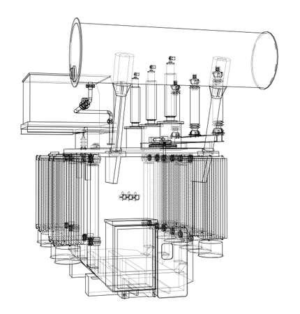 Concept de transformateur haute tension. Rendu vectoriel de 3d. Style fil de fer. Les couches de lignes visibles et invisibles sont séparées