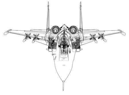 Concepto de avión de combate. Representación vectorial de 3d. Estilo de marco de alambre. Las capas de líneas visibles e invisibles están separadas. Ilustración de vector