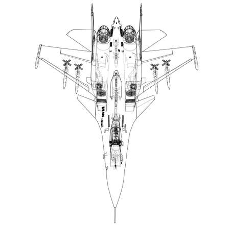 Fighter plane concept. Vector rendering of 3d. Wire-frame style. The layers of visible and invisible lines are separated Vector Illustration