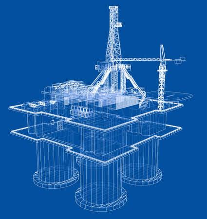 Concepto de plataforma de perforación de plataforma petrolera costa afuera Foto de archivo