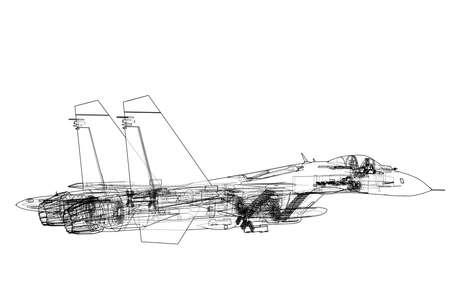Concept d'avion de chasse. Rendu vectoriel de 3d. Style fil de fer. Les couches de lignes visibles et invisibles sont séparées Vecteurs