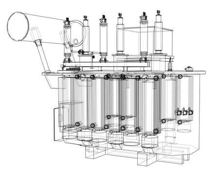 Concetto di trasformatore ad alta tensione. Rendering vettoriale di 3d. Stile wireframe. Gli strati di linee visibili e invisibili sono separati