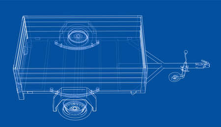 Open trailer sketch. Vector rendering of 3d. Wire-frame style. The layers of visible and invisible lines are separated Illustration
