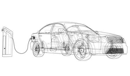 Schets van het laadstation voor elektrische voertuigen. Vector weergave van 3d. Draadframe-stijl. De lagen zichtbare en onzichtbare lijnen zijn gescheiden
