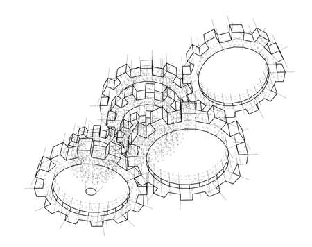 3D gears. Vector rendering of 3d. Wire-frame style. The layers of visible and invisible lines are separated