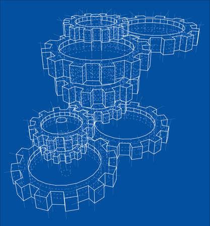 3D gears. Vector
