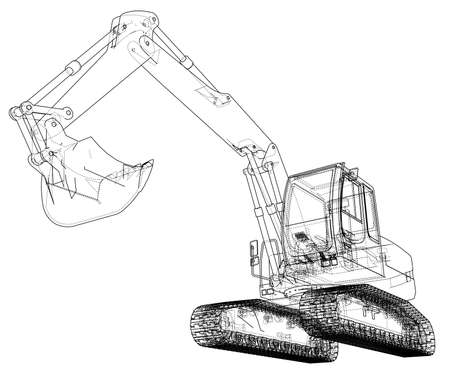 Excavator concept outline. Vector rendering of 3d. Wire-frame style. The layers of visible and invisible lines are separated