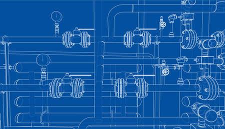 Sketch of industrial equipment. Vector  イラスト・ベクター素材