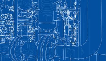 Sketch of industrial equipment. Vector Stock Photo