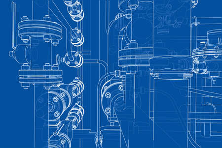 Sketch of industrial equipment. Vector Stock Photo