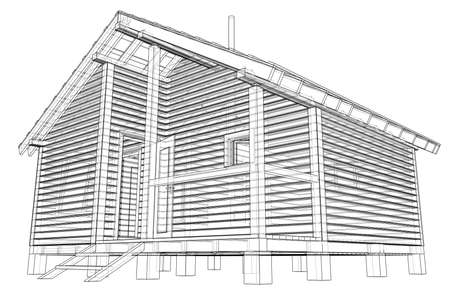 Sketch of small house. Vector rendering of 3d. Wire-frame style. The layers of visible and invisible lines are separated