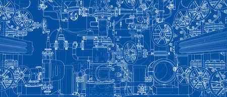 Sketch of industrial equipment. Vector Illustration