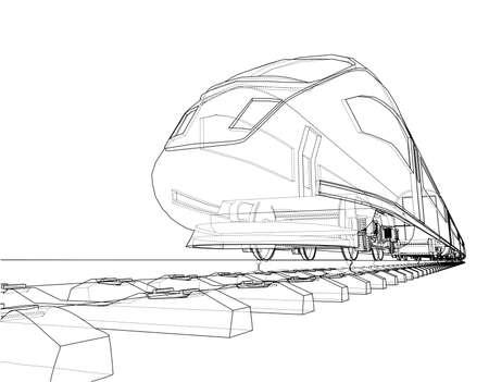 Concepto moderno de tren de velocidad. Vector