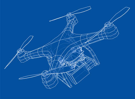 Drone concept. Vector rendering of 3d. Wire-frame style. The layers of visible and invisible lines are separated