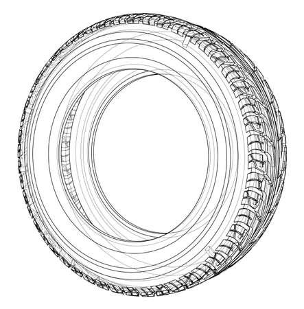 Car tire concept. Vector rendering of 3d