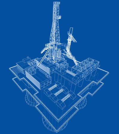 Offshore oil rig drilling platform concept. Vector Vetores