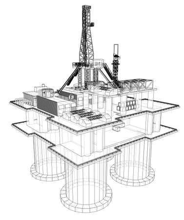 Offshore oil rig drilling platform concept. Vector Vecteurs