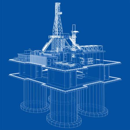 Offshore oil rig drilling platform concept. Vector