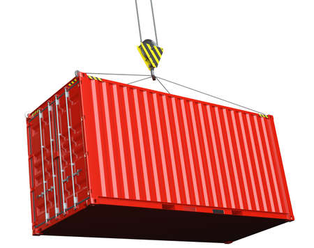 Service delivery - red cargo container hoisted by hook. 3D rendering Stock Photo