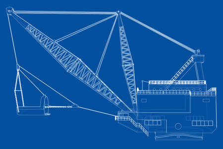 Dragline walking excavator. Vector rendering of 3d. Wire-frame style. The layers of visible and invisible lines are separated  イラスト・ベクター素材