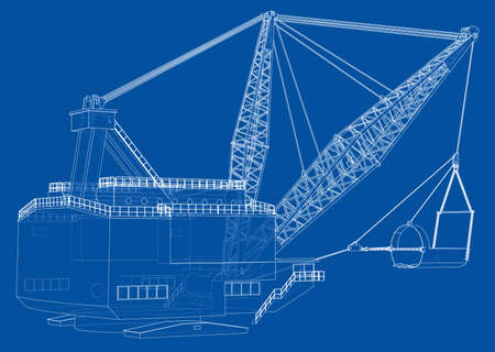 Dragline walking excavator. Vector rendering of 3d. Wire-frame style. The layers of visible and invisible lines are separated Illusztráció