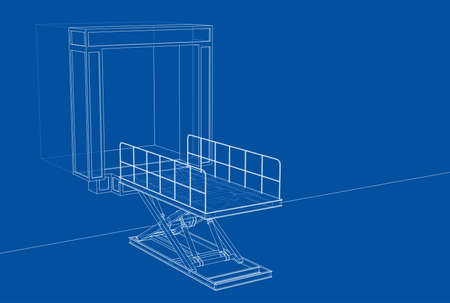 Dock leveler concept. Vector rendering of 3d. Wire-frame style. The layers of visible and invisible lines are separated Ilustración de vector