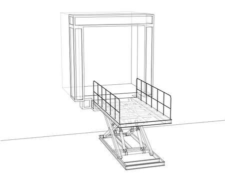 Concept de niveleur de quai. Rendu vectoriel de 3d. Style fil de fer. Les couches de lignes visibles et invisibles sont séparées Vecteurs