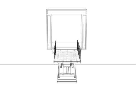 Dock leveler concept. Vector rendering of 3d. Wire-frame style. The layers of visible and invisible lines are separated Vettoriali